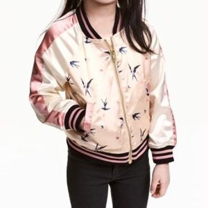 NWT H&M Girls Embroidered Satin Jacket